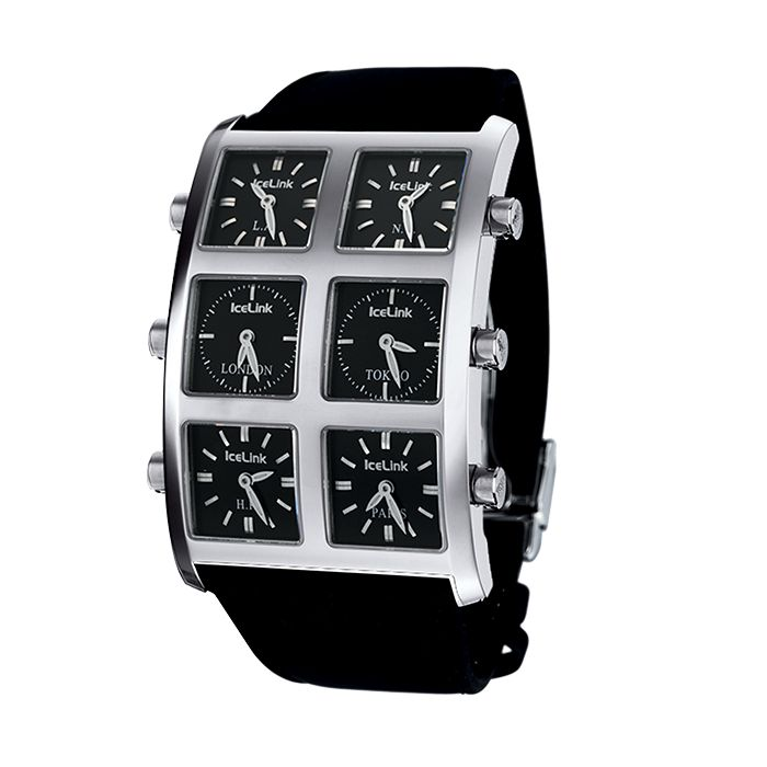IceLink Black 6 Time Zone Ambassador Big Case Watch - IceLink Watches
