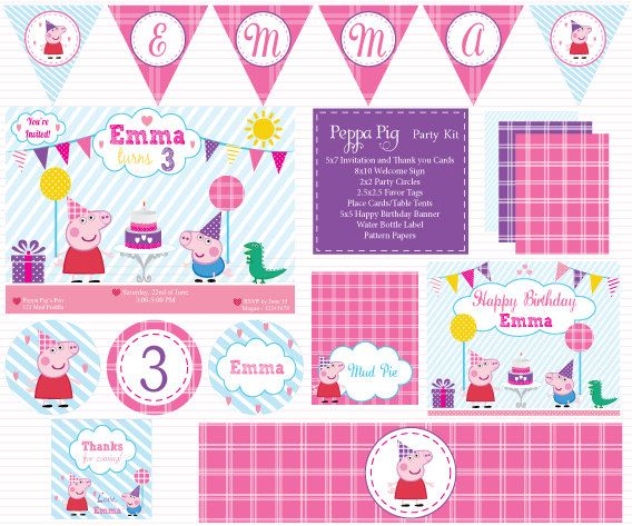 Customized Peppa Pig Digital Printable Birthday Baby Shower Invitation and Party Kit