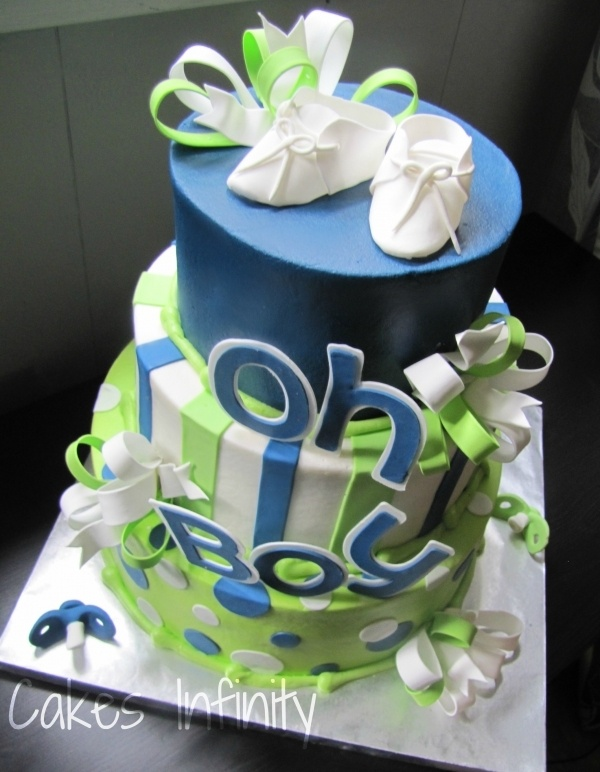 Oh Boy, baby shower cake! Love the colors and design!
