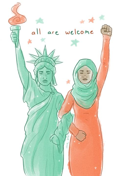"""Give me your tired, your poor, your huddled masses yearning to breathe free, the wretched refuse of your teeming shore. Send these, the homeless, the tempest-tossed, to me: I lift my lamp beside the golden door."" - Emma Lazarus (as inscribed on the base of Lady Liberty)"