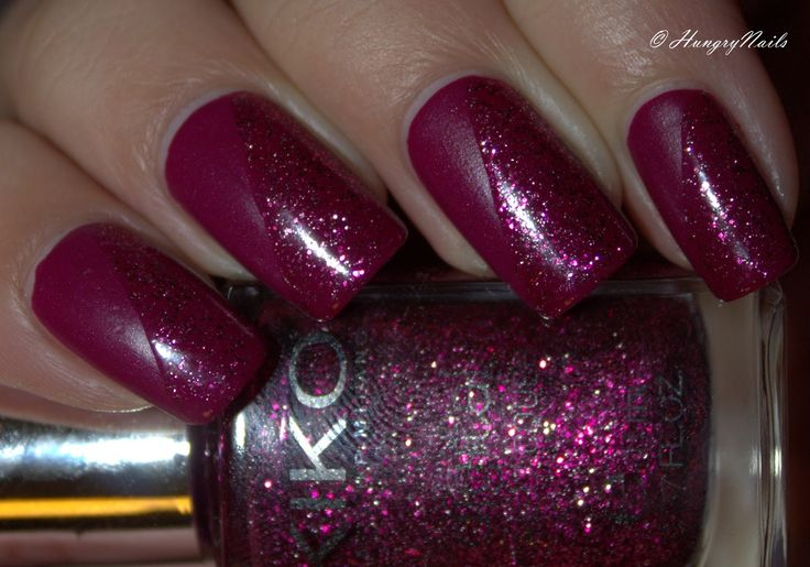 Kiko Denim nail lacquer 462 Tribal Purple with Kiko digital nail lacquer 438 Fascinating Burgundy