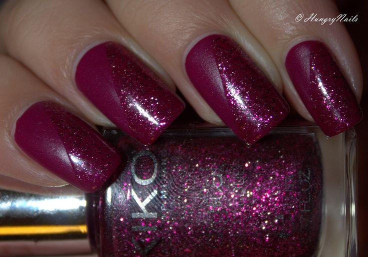 Kiko Denim nail lacquer 462 Tribal Purple with Kiko digital nail lacquer 438 Fascinating Burgundy