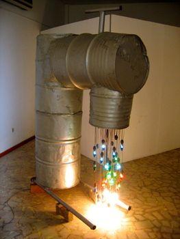 18_bright_eke__public_tap_1__2006__light_bulbs__wire__water_