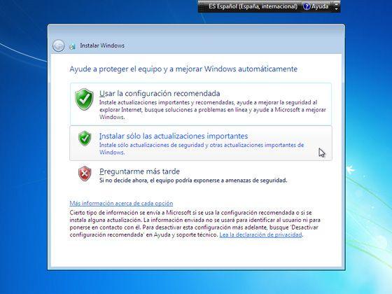 Instalar Windows 7: Elige las opciones de Windows Update