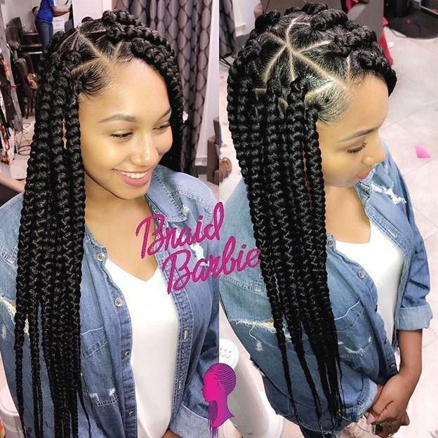 Large Triangle Box Braids Braidbarbiegang Boxbraids Box Boxbraids Braidbarbiegang Braids Large Hair Styles Natural Hair Styles Box Braids Styling