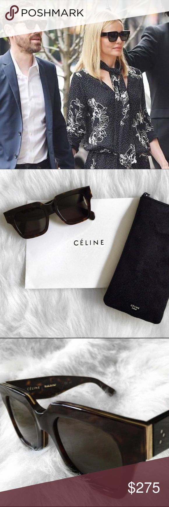 Celine Strat Screen Sunglasses In excellent used condition! As seen on Kate Bosworth! Style number is 41097 in the color Dark Havana. Still love these sunnies, but I want a rounder style. Comes with the original Celine paper packaging, sunglasses pouch, and cleaning cloth. Willing to go lower on Merc! 😊 Celine Accessories Sunglasses
