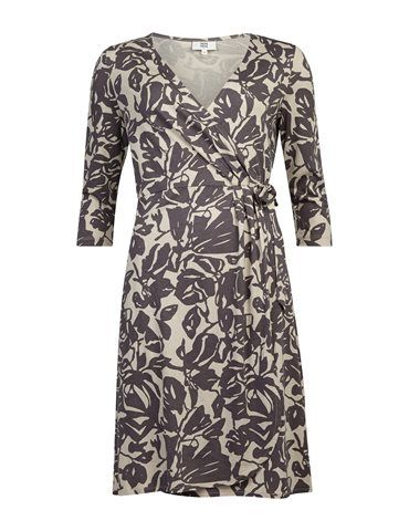 Slå-om-kjole med print  - Lavendel