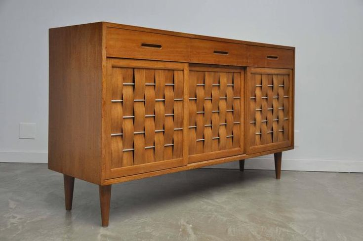 Pair of Dunbar Woven-Front Credenzas by Edward Wormley 6