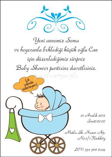 Sevimli bebek baby shower davetiyesi