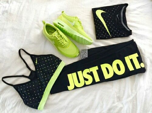 *Nike* black and neon green workout outfit