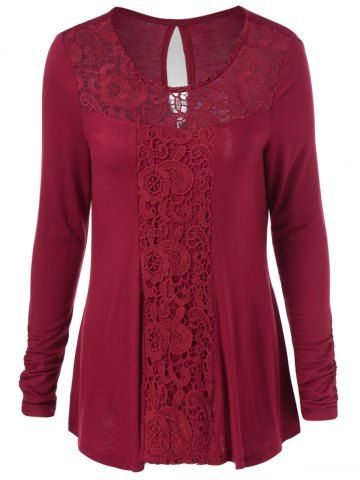 GET $50 NOW | Join RoseGal: Get YOUR $50 NOW!http://www.rosegal.com/t-shirts/cut-out-lace-trim-t-shirt-930001.html?seid=807197rg930001