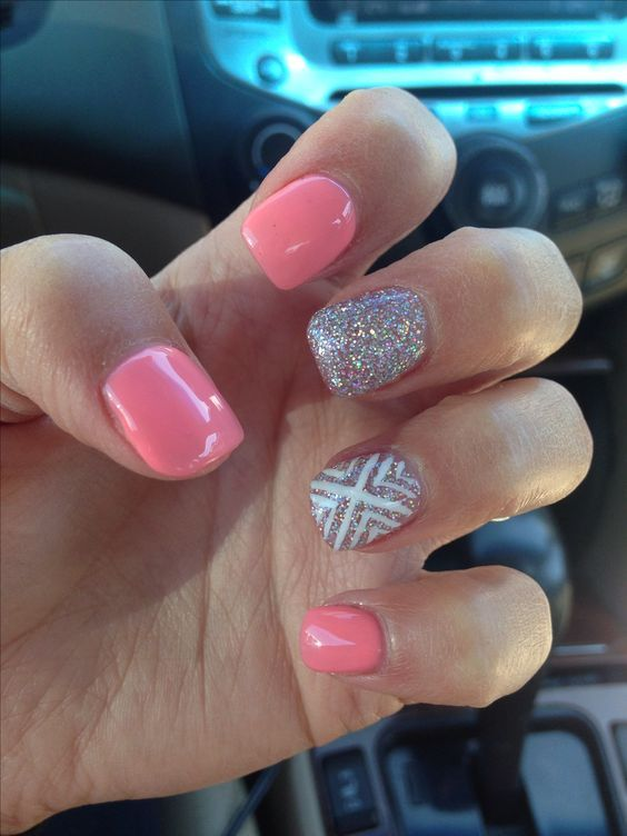 Cute silver peach white acrylic nail design. Are you looking for peach acrylic nails design? See our collection full of peach acrylic nails designs and get inspired!
