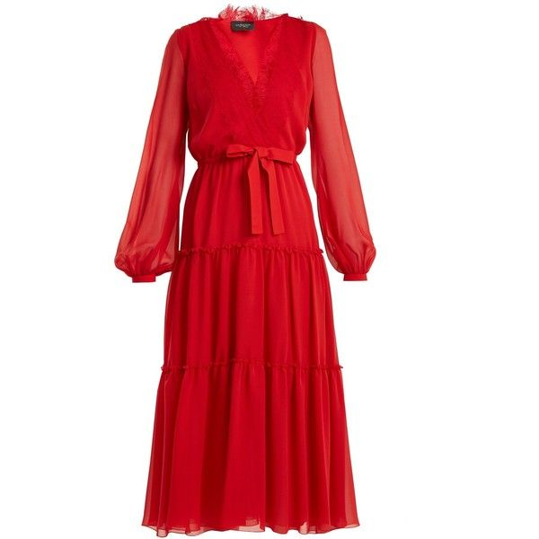 Giambattista Valli V-neck lace-trimmed silk-georgette dress found on Polyvore featuring dresses, red, v-neck dresses, long dresses, lace trim dress, ruched dress and v neckline dress