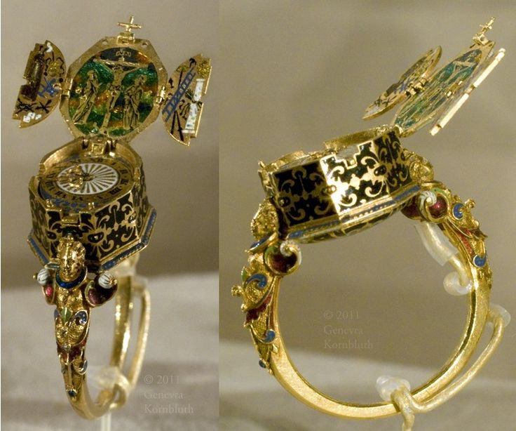 ring with watch and Crucifixion triptych with instruments of the Passion, Jakob Weiss, gold and enamel, c.1585