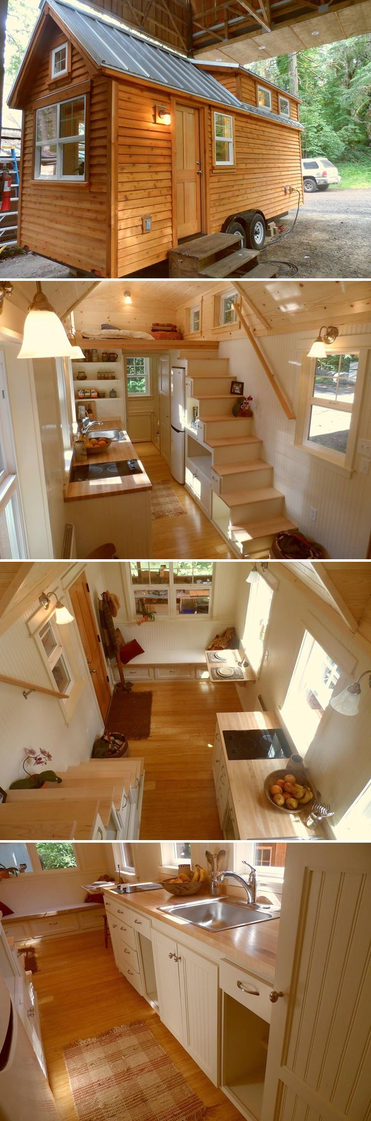 The Oregon Cottage Company created this customized Ynez model for a client along the Oregon coast. The 22′ tiny house features tansu storage stairs with maple treads, bamboo flooring, and bead board wall paneling.