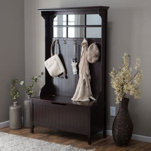 Belham Living Richland Hall Tree - Black - A stunning storage beauty, the Richland Hall Tree - Black is the just the piece you've been searching for to finally get that entryway or mudroom organized....