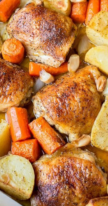 One Pot Chicken Potatoes Recipe ~ simple delicious dinner idea. Just toss in the baking dish with seasoning roast!
