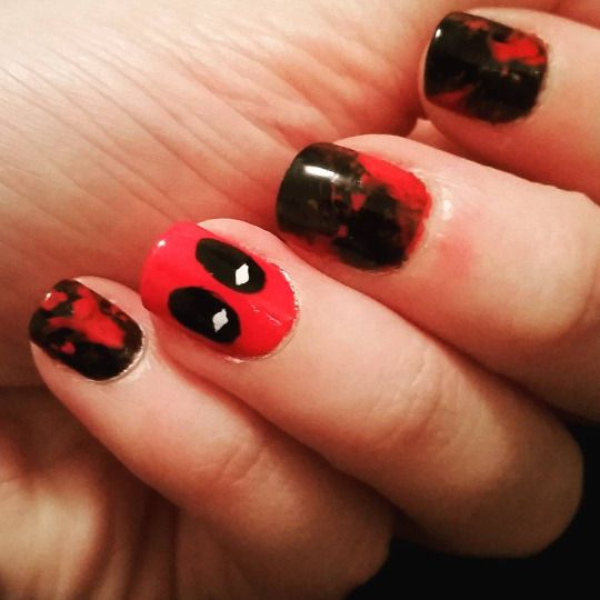 Deadpool nail art by Bizarre Obsessions - 612 Best Nails Images On Pinterest Nail Ideas, Nail Art Designs