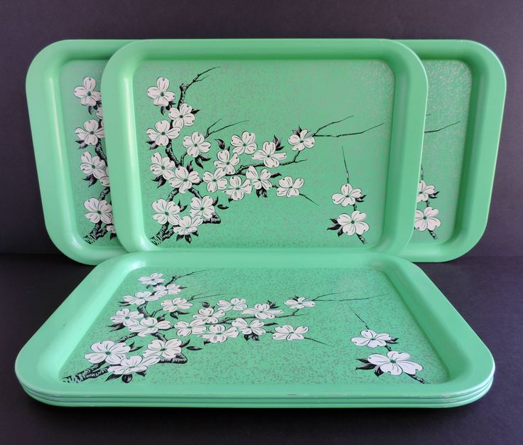Vintage Mid-Century Mint Green Dogwood Flower Metal Serving Trays, Set of Six 6, Kitchen Serveware by TheLogChateau on Etsy