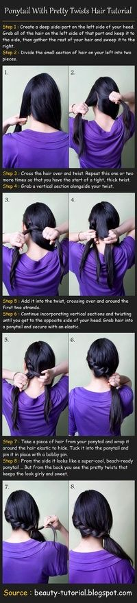 Ponytail With Twists Hair Tutorial. yeah... cant do it even with the tutorial... :(((
