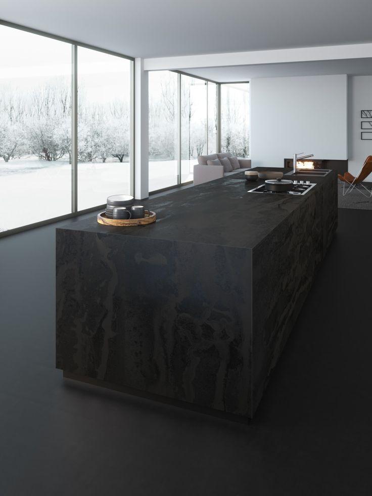 Arbeitsplatten Aus Dekton Material Aufbau Eigenschaften Vor Und Nachteile Preis Kuchenfinder Kucheninspira In 2020 Kuchendesign Modern Deko Tisch Kuche Schwarz