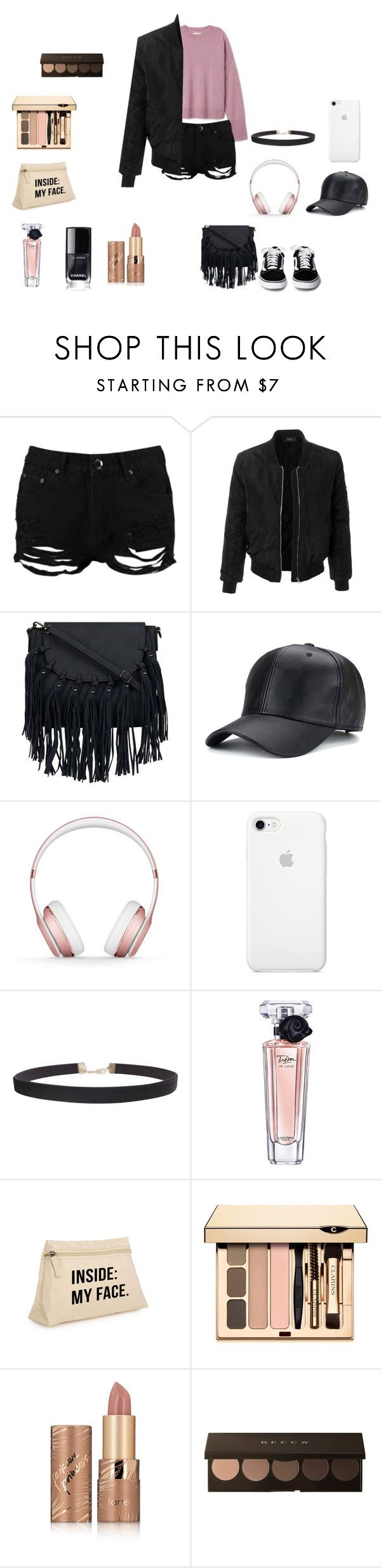 """""""one less problem"""" by julia-moore-238 on Polyvore featuring Boohoo, LE3NO, Beats by Dr. Dre, Humble Chic, Lancôme and tarte"""