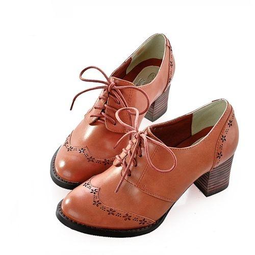 Stylish Camel Retro Rockabilly Fashion Dress Oxford Heels Shoe Store SKU-1090474