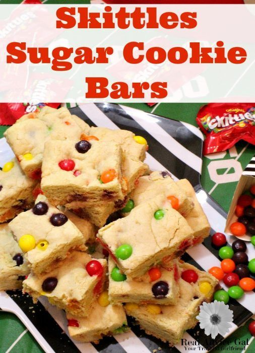 This Skittles Sugar Cookie Bars Recipe is an awesome sweet treat that everyone will love! It's a yummy treat that will add some color to your football snack table.