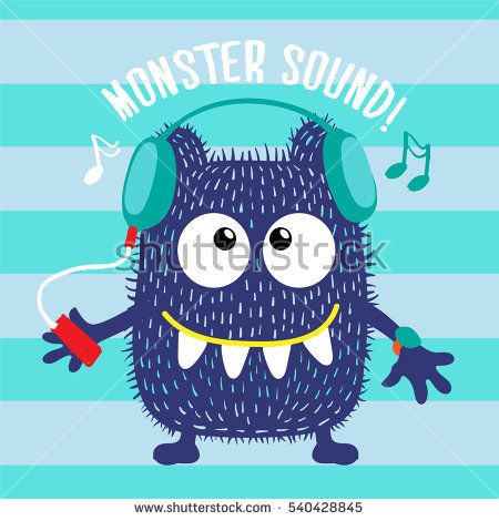 Cool vector navy monster character with blue headphones listens music. Urban monster character.