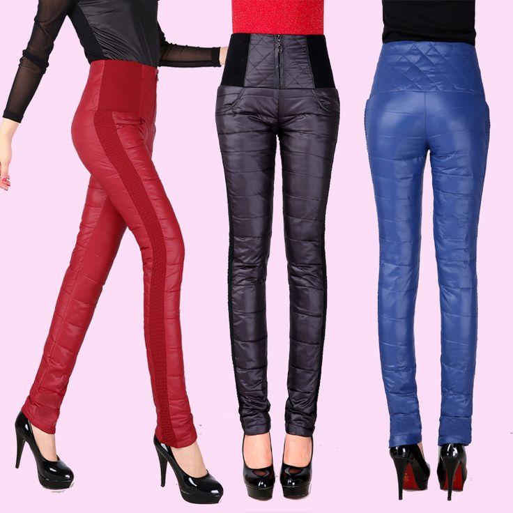 Оригинальные зимние одеяла г-жа Тонкий был тонкий эластичный пояс брюки толстые Двусторонняя верхней одежды брюки вниз большие дворы - Taobao