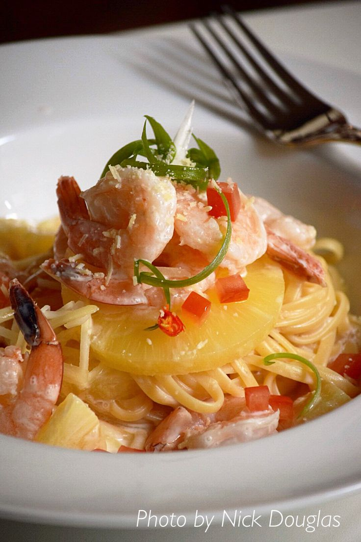 Pasta , prawns & pineapple in coconut sauce.