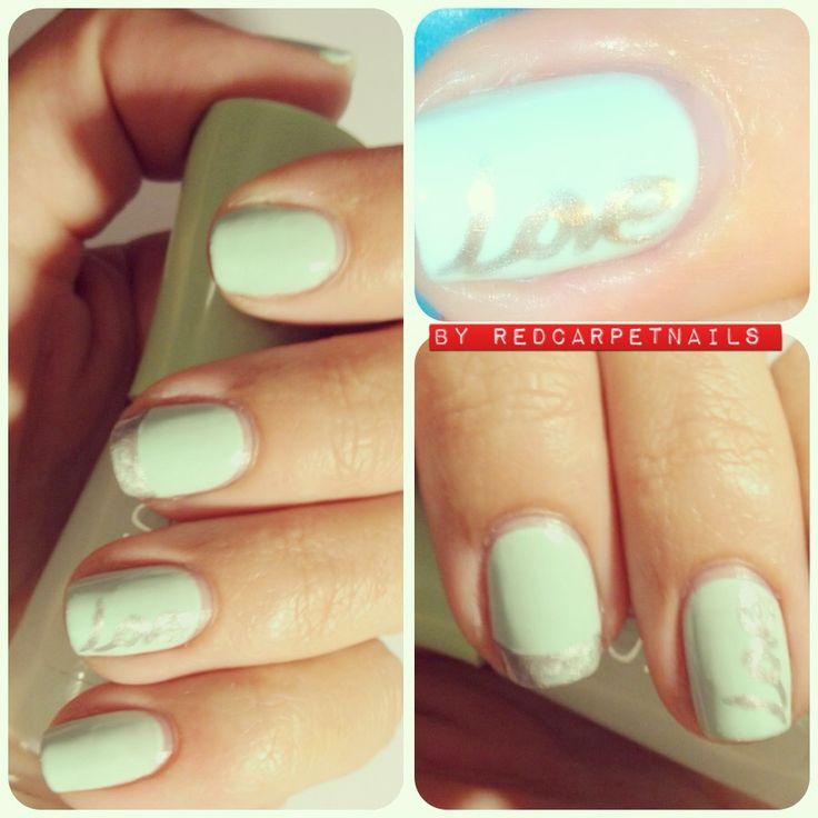 #ontrend #fashion #summer #seafoamgreen #silver #nails #celebrity get these super cool seafoamgreen with love nails by RedCarpetNails £15. Book now at 1redcarpertnails@gmail.com. Go on treat yourself it'll be worth it.