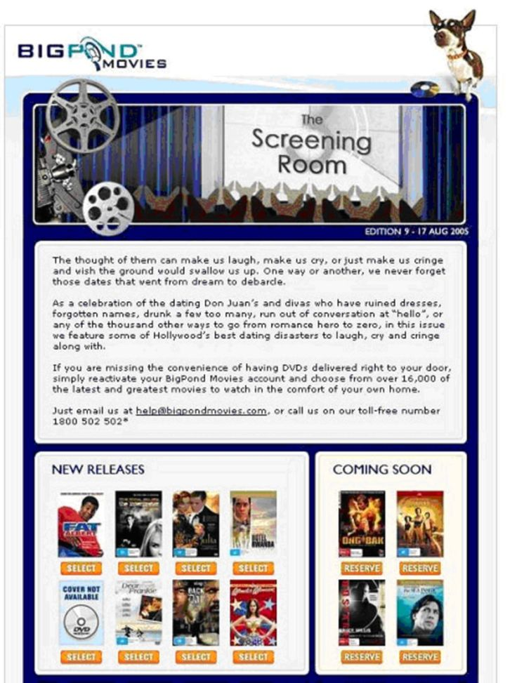 Copywriting sample - Bigpond Movies newsletter - Get There Writing Services