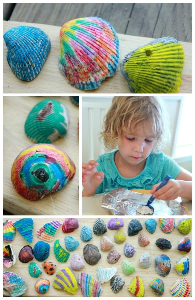 You may have tried melted crayon rocks (a big-time kid favorite!), but have you tried melted crayon shells yet? This was one of our favorite beach trip activities! (Although you could also do it with craft store shells...)
