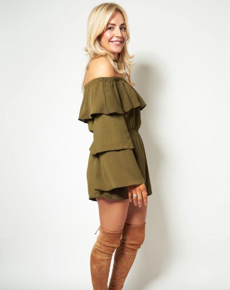 Khaki Queen! Thalia Khaki off the shoulder jumpsuit now in the sale for just £45! Shop now>  #NEfollowers #sale