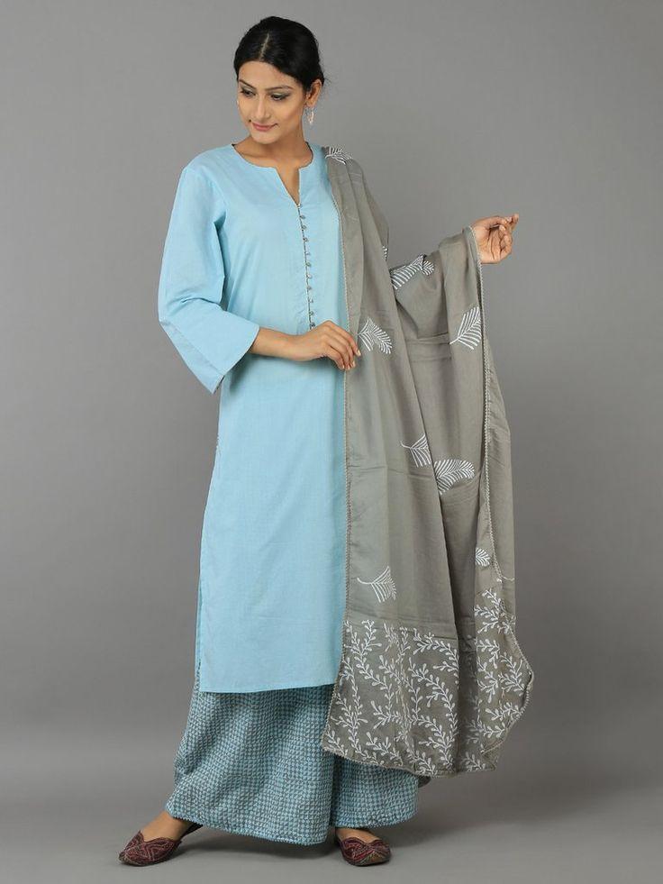 Turquoise Blue - Grey Cotton Kurta with Block Printed Palazzo and Dupatta - Set of 3