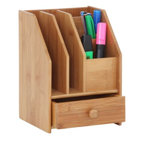Bamboo Desk Organiser With Drawer  #howardsstorage #christmaswishlist