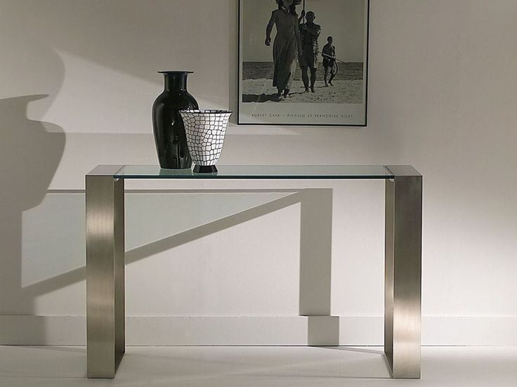 Rectangular glass and steel console table RING | Console table - F.lli Orsenigo