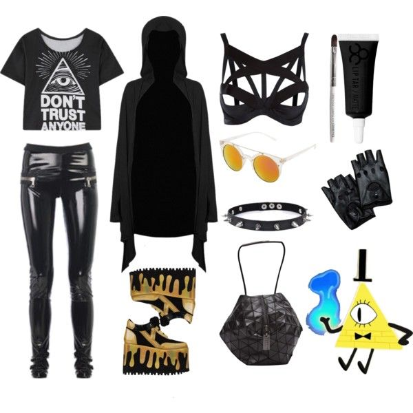 buy gold, bye! by postpunkfaery on Polyvore featuring mode, Agent Provocateur, Y.R.U., Bao Bao by Issey Miyake, Trend Cool, Neff, Obsessive Compulsive Cosmetics and goth
