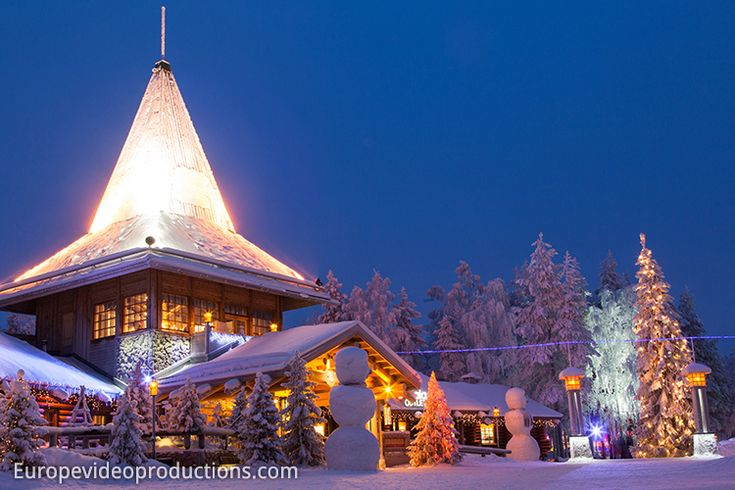 Santa Claus Office in Rovaniemi during blue moment in Lapland