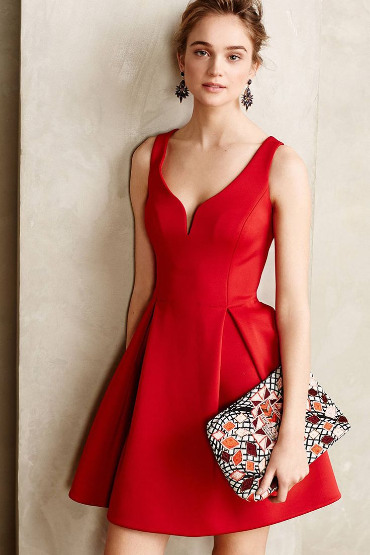 Short Red V-Neck Sleeveless Draped Satin Textured Cocktail Dress
