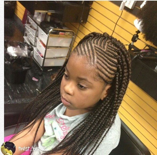 Kids Cornrows With Single Plait At The Back Braids