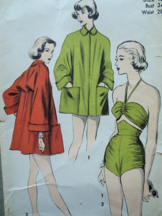 Vintage Advance 5099 Sewing Pattern, 1950s Swimsuit Pattern, Bathing Suit, Pin Up, Swim Suit, Bust 34, Beach Coat Pattern, 1950s Fifties 50s