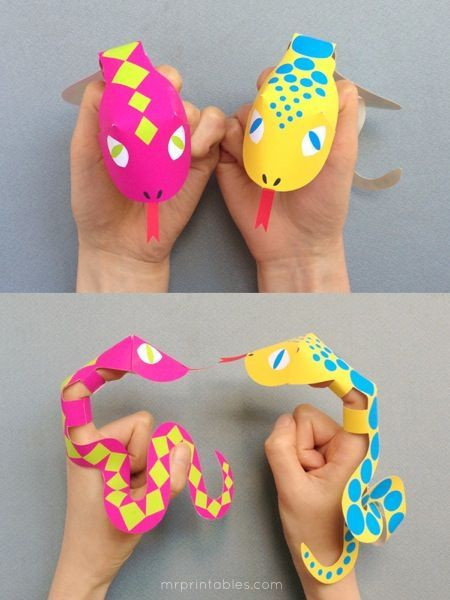 Printable Finger Puppets | Snake Puppets - Mr Printables