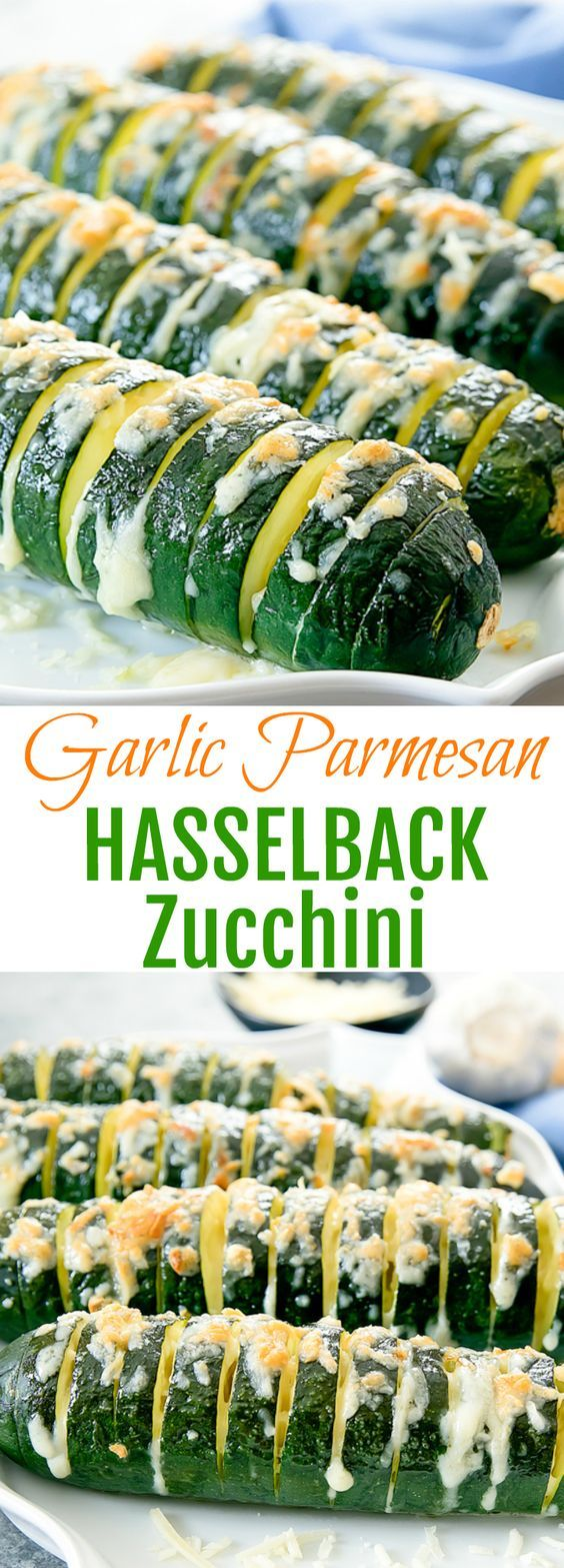Garlic Parmesan Hasselback Zucchini. A low carb alternative to hasselback potatoes and a fun way to enjoy roasted zucchini.