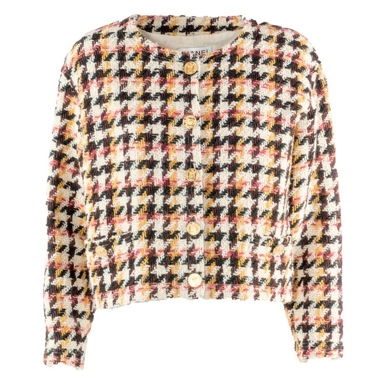 1990s Chanel Boutique Pied de Poule Wool Jacket   From a collection of rare vintage jackets at https://www.1stdibs.com/fashion/clothing/jackets/