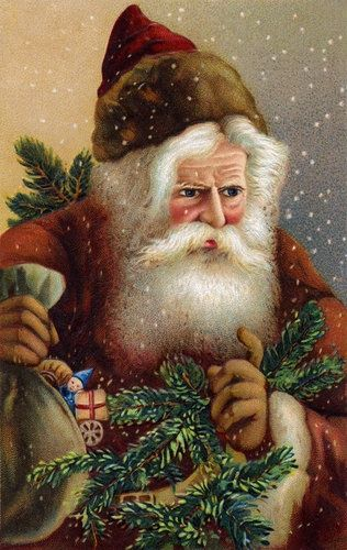 This is a pretty vintage Santa. Not traditional but I still love the style.