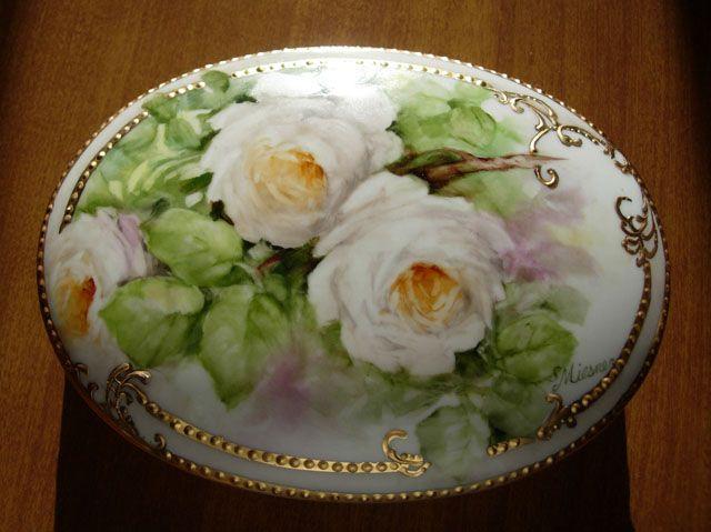 Handpainted white roses