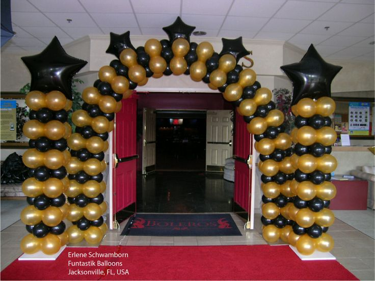 A black and gold #balloon Arch and coordinating Columns make the perfect entrance for a #Hollywood or Red Carpet themed #prom. Design by Erlene Schwamborn of Funtastik Balloons in Jacksonville, FL, USA. Find a balloon professional near you: http://www.qualatex.com/balloons/findapro.php