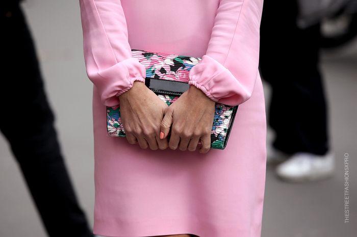 Pink dress + floral clutch